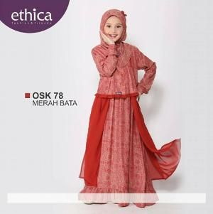 Baju Gamis Anak Ethica OSK 78 Merah Bata - Ready Size 8 - Lebaran Sale