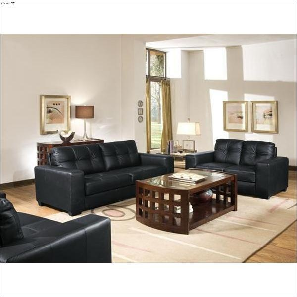 this stylish black leather sofa and loveseat set by whitney is a modern statement for any living space with a sturdy pine and larch wood frame