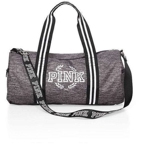 PINK Gym Duffle (£25) ❤ liked on Polyvore featuring bags, luggage, gym and grey