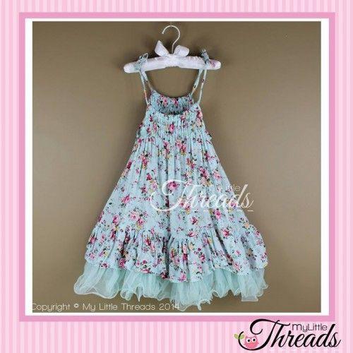 Girls floral blue dress http://www.mylittlethreads.com.au/blue-vintage-floral-dress