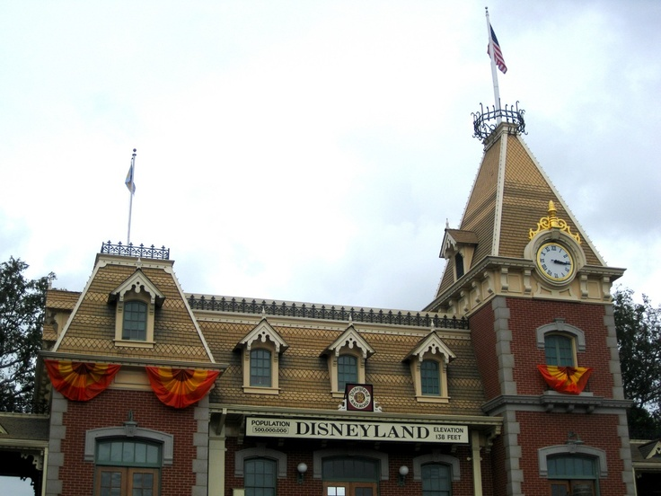Back side of the Main Street Train Depot decorated for Fall, Front Entrance Gates, Disneyland, The Disneyland Resort, Anaheim, CA