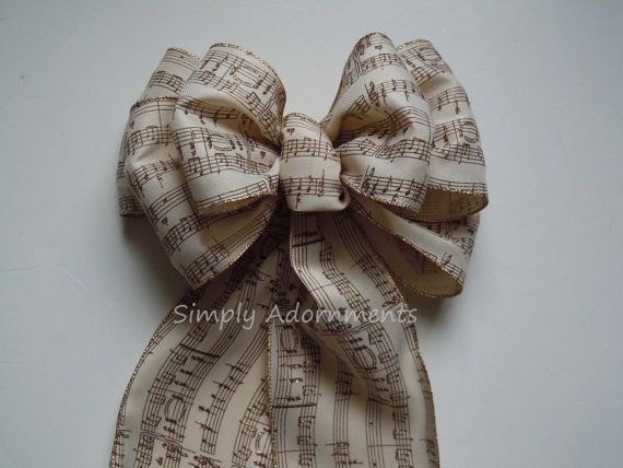 """10"""" Ivory Burlap Gold Music Sheet Wedding Pew Bow by SimplyAdornmentsss, 9.99"""