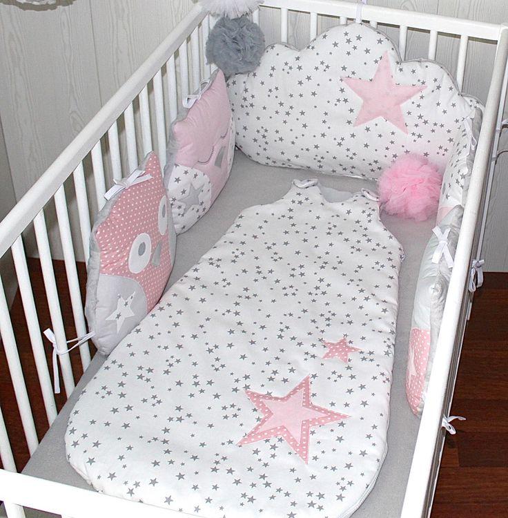 Gigoteuse fille  6 - 18 mois, blanc étoile grise et rose