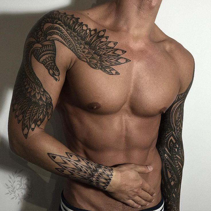 Good looking mens tribal tattoo. Bird tattoo. Tattoo sleeve. Hot men