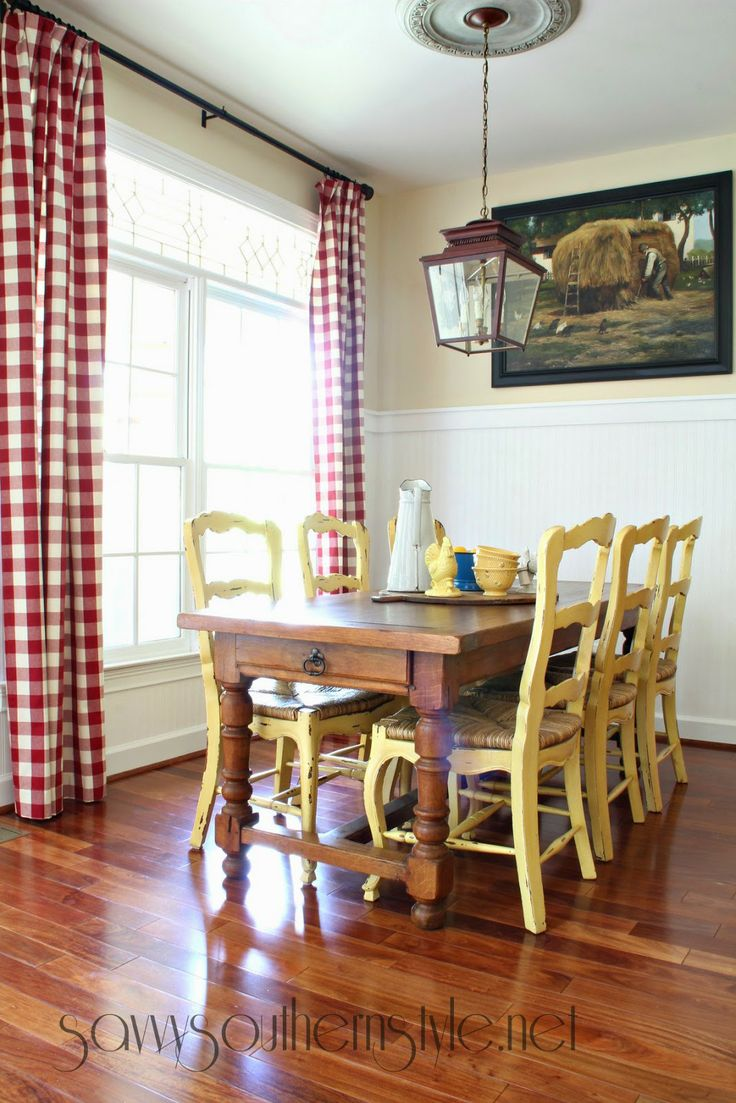 Dining room country curtains - Savvy Southern Style Yellow Chairs Red Check Curtains