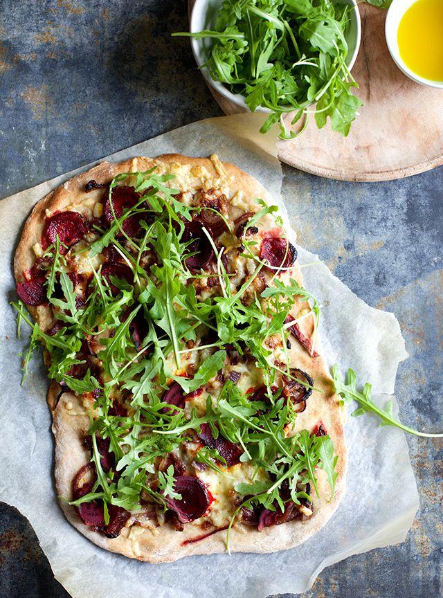 Pizza med rødbede