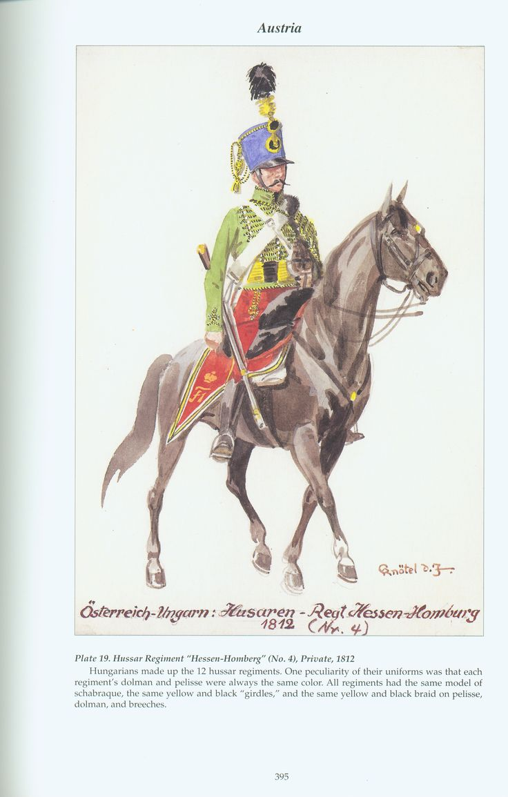 "Austria: Plate 19. Hussar Regiment ""Hessen~Homburg"" (No. 4), Private, 1812"
