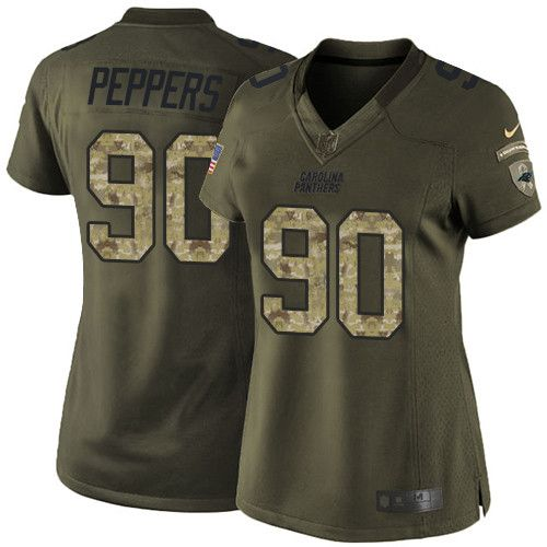 Women's Nike Carolina Panthers #90 Julius Peppers Limited Green Salute to Service NFL Jersey