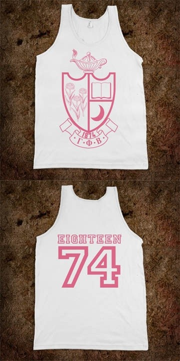 Gamma Phi Beta Frat Tank - Crest Design in Pink - Eighteen 74  on back - CLICK HERE to purchase :) buy 1 or 100! Sorority Shirts