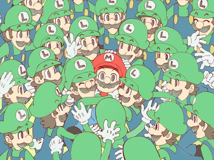 A lot of copies of Luigi and a Mario.