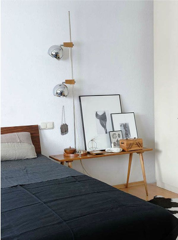long bedside table + artwork