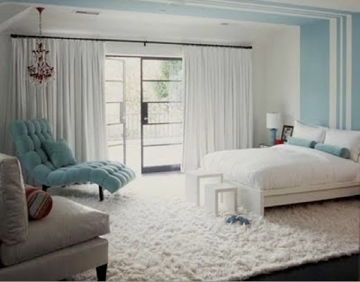 .: Chai Lounges, Idea, Color, Chairs, Tiffany Blue, White Rooms, Blue Bedrooms, White Bedrooms, Stripes