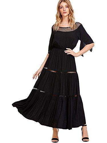 84e5a5c0f756 Milumia Women's Bohemian Drawstring Waist Lace Splicing White Long Maxi  Dress.This dress color is black-1.