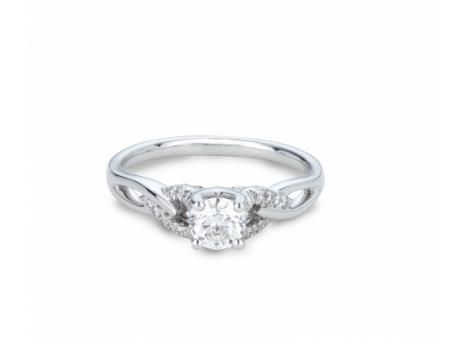 Mined in Northern Ontario this 18k Palladium & White Gold Canadian Victor Diamond .61ctw Bridal Ring in VS quality is a true Canadian treasure.