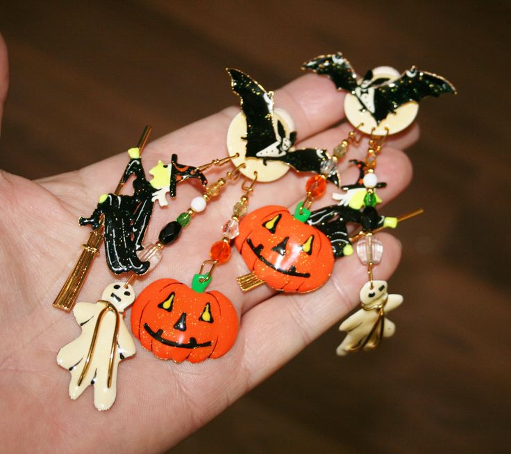 Free USA Shipping! Halloween, Bat, Ghost, Witch, Pumpkin Lunch At The Ritz Clip Earrings! by Route66Diner on Etsy