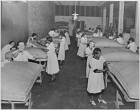 Topeka, Kansas. Works Progress Administration (WPA) mattress making project.