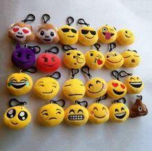 """6 cm 2 """"2 pollice Emoji Emoticon Molle Farcito Peluche Giallo Rotondo Keychain Portachiavi Giallo Rotondo Cuscino Del Pendente della catena Chiave Faccia(China (Mainland))"""