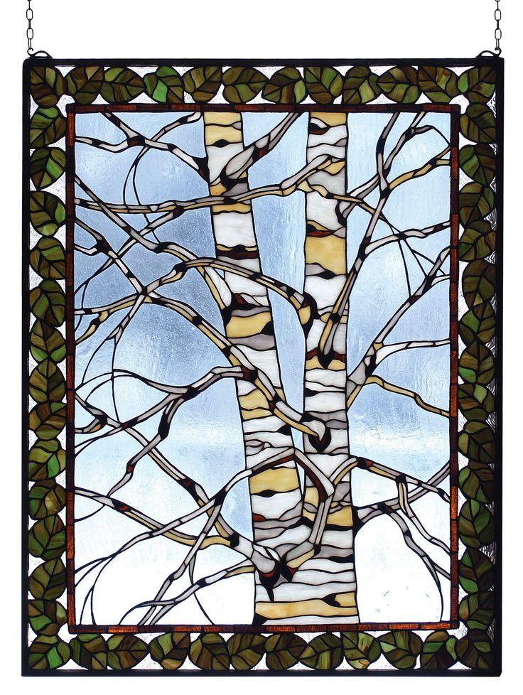 "28""W X 36""H Birch Tree In Winter Stained Glass Window"