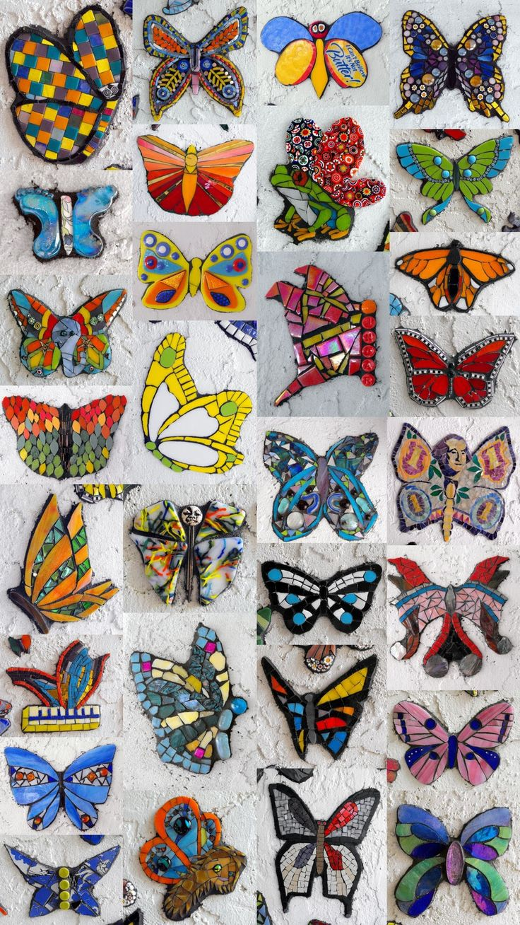 Mosaic Artist Eve Lynch's Butterfly Project: Butterfly mania!  (Mosaic artists from around the world participated in this project!)