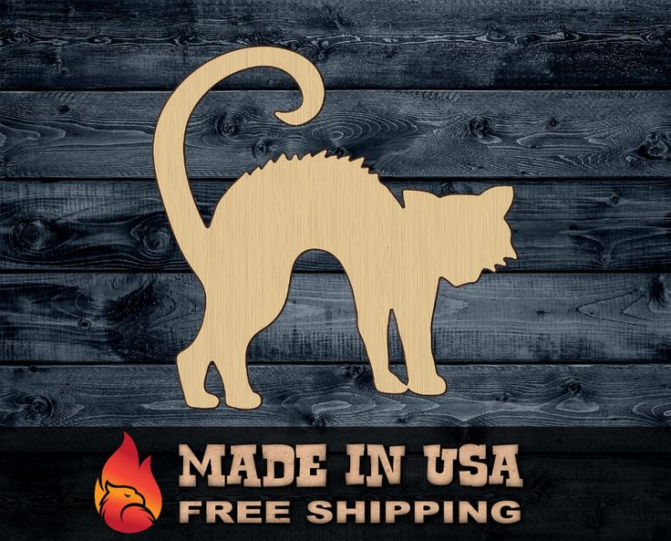 Cat Halloween Wood Cutout Contour Silhouette Blank Unpainted Sign 1/8″ thick ***** FREE Shipping on orders 35 USD and above