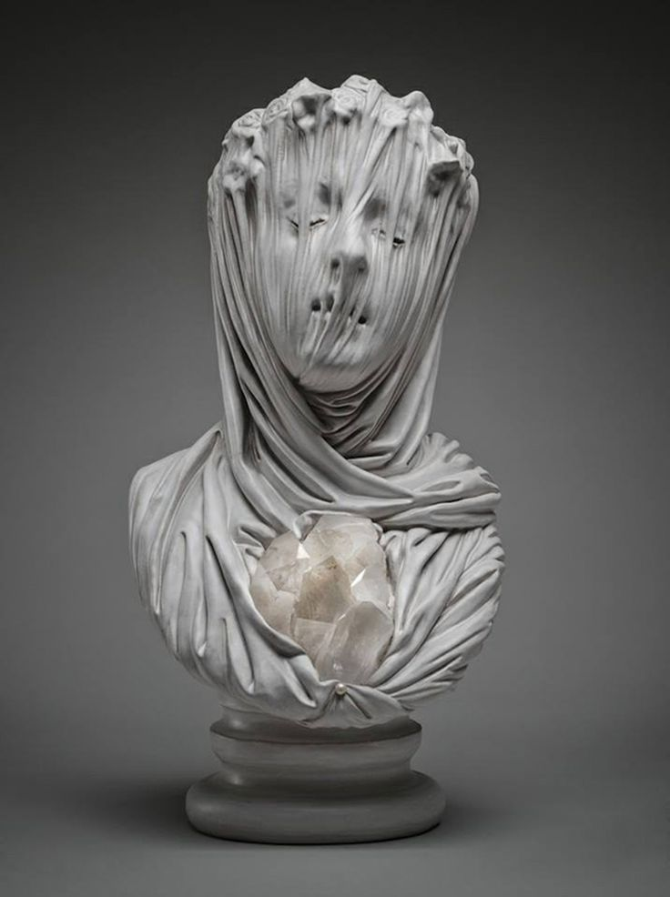 """Livio Scarpella - A """"veiled ghost,"""" carved from marble, from his """"Fuori dal Tempo"""" show at Gallery Gomiero in Milan, Italy (April 2014)."""