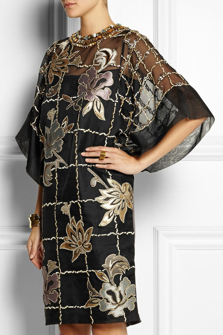 BIYAN Lucy embroidered organza dress | Crystal and bead-embellished neckline | Kimono sleeves | £1,360
