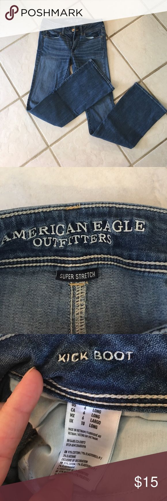American eagle superstretch kick boot jeans American Eagle outfitters superstretch size 6 long kick boot jeans. Only worn A few times. Comes from a smoke free home. 20% discount when bundling items. No trading American Eagle Outfitters Jeans Boot Cut