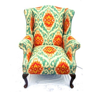 O'Brian Vintage: Vintage Chairs, Colors Combos, Divine Chairs, Living Rooms, Francin Vintage, House, Accent Chairs, Wingback Chairs, Bright Colors