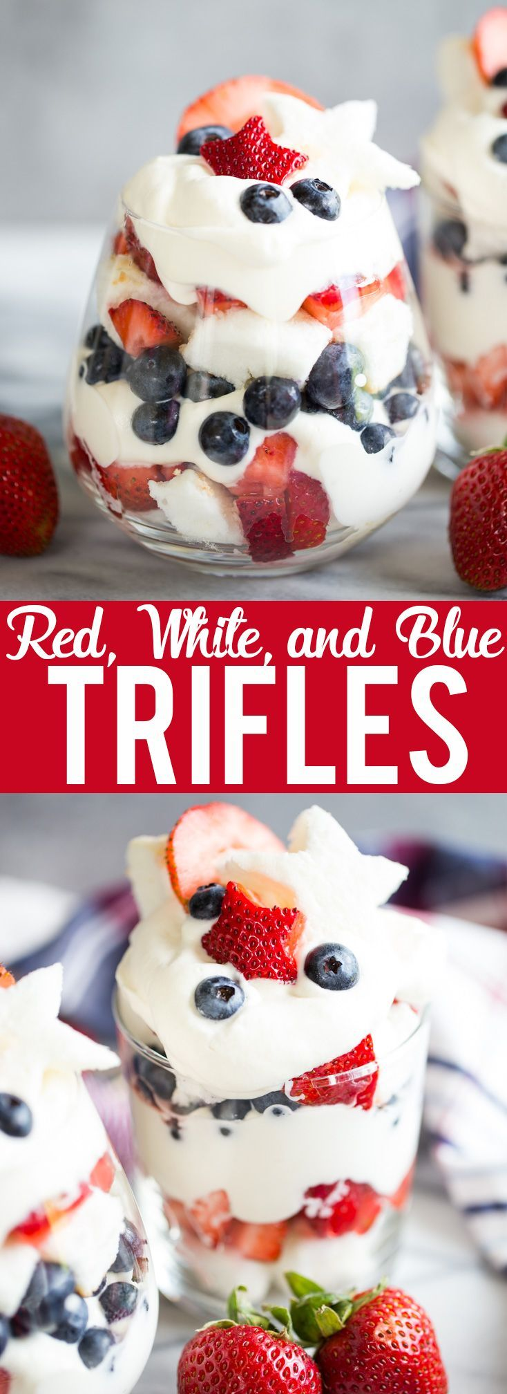 These Red, White, and Blue Trifles are an easy and delicious dessert for Fourth of July, Memorial Day, Labor Day or any Summer BBQ! | Red white and blue dessert | fourth of July dessert | Labor day dessert | Summer Dessert | Dessert Recipe for BBQ | 4th of July