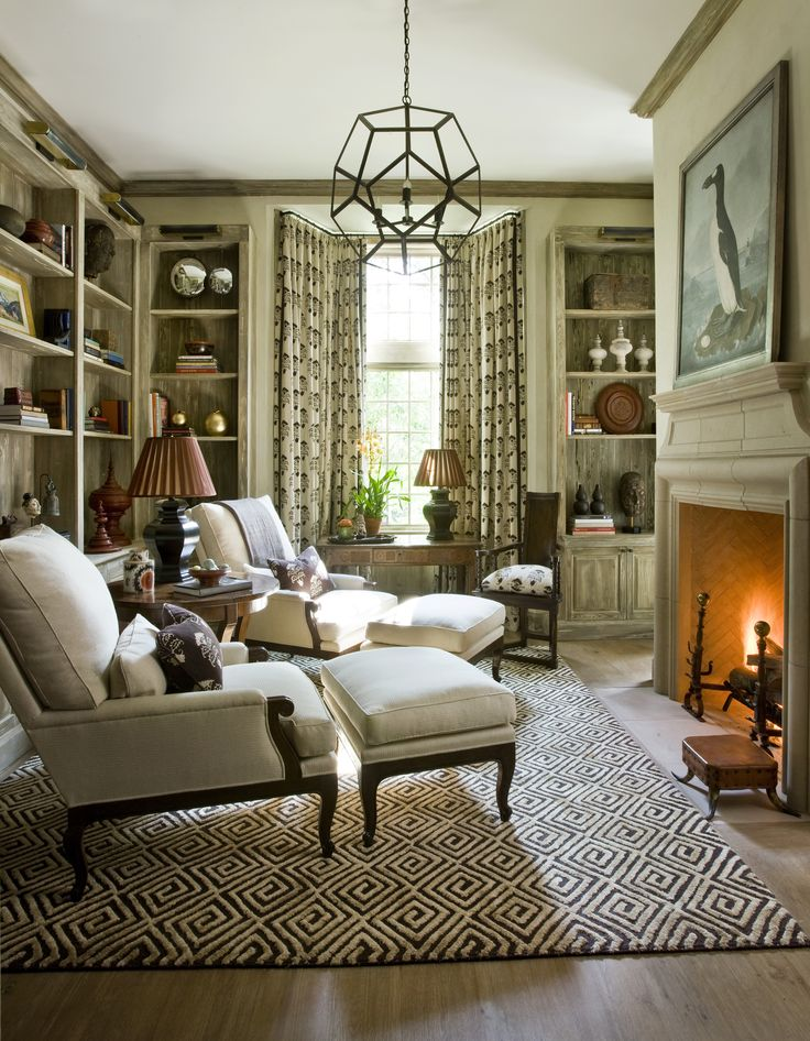 Wood Finishes and fireplace mantel with herringbone interior