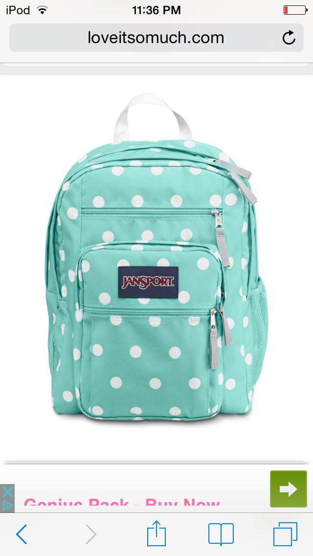 A cute JanSport polkadot backpack for school!! I love this backpack!!