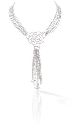 gorgeous Camélia necklace in 18k white gold and diamonds. CAMÉLIA CHANEL