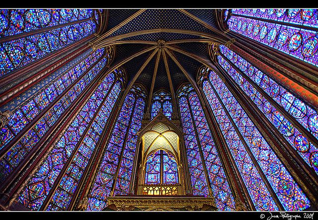 Sainte-Chapelle, Paris, built circa 1240 to house the Crown of Thorns and other relics collected by the king St. Louis.  Easily one of the most sublime places in Paris.