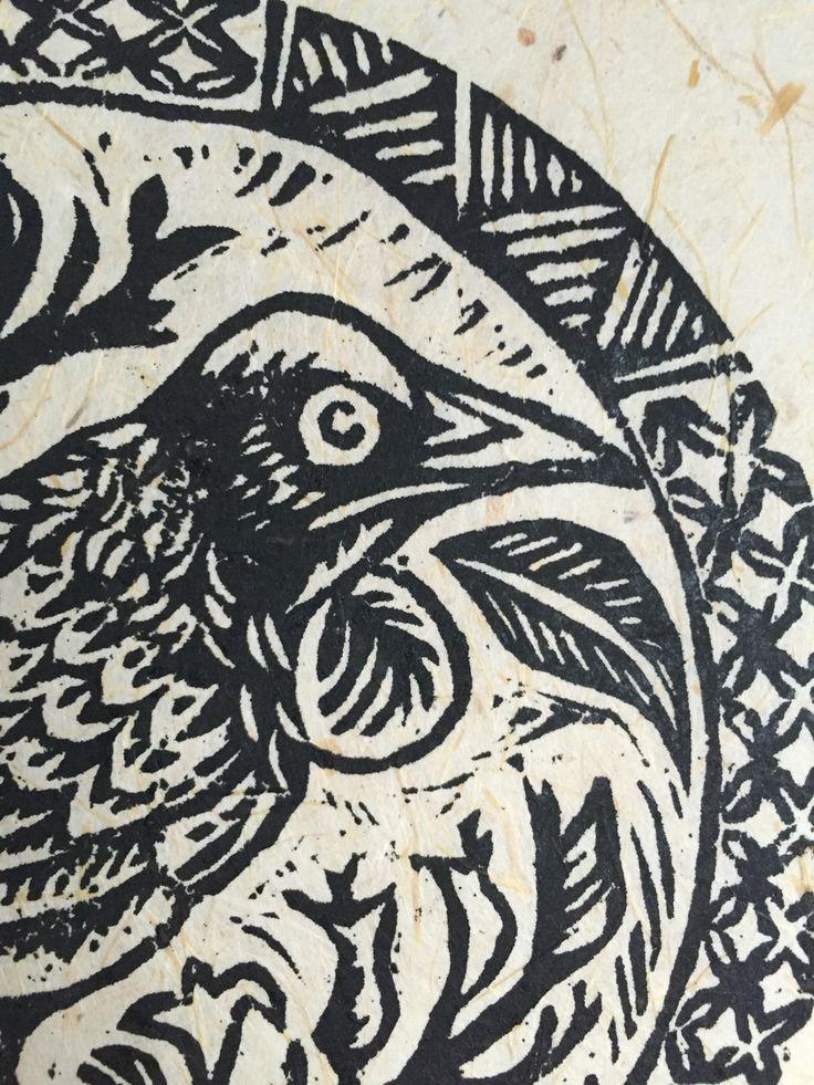 Tui detail. Original woodcut print, onto sugarcane paper.  By JSP