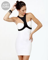 LULUS Exclusive Halterations Black and White Dress