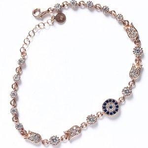 Lale motifli, nazar boncuk ve zirkon taş süslemeli, roz renkli 925 ayar gümüş bayan bileklik
