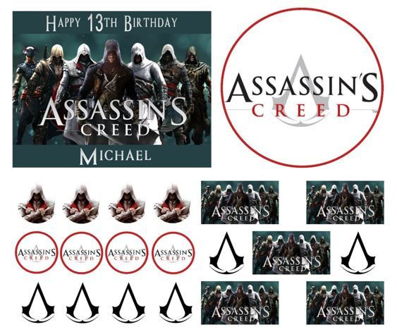 ASSASSIN'S CREED Birthday Cake Frosting Edible Image Toppers, Cupcakes, or Sides by WilsonCakeImaging on Etsy