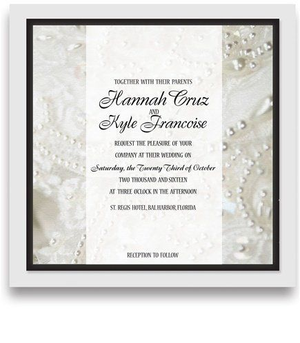 220 Square Wedding Invitations - Wedding Dress Pearls by WeddingPaperMasters.com. $561.00. Now you can have it all! We have created, at incredible prices & outstanding quality, more than 300 gorgeous collections consisting of over 6000 beautiful pieces that are perfectly coordinated together to capture your vision without compromise. No more mixing and matching or having to compromise your look. We can provide you with one piece or an entire collection in a one stop shop...