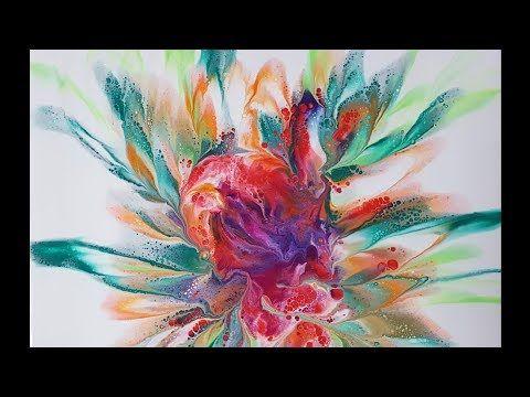 (72) Acrylic Pouring _ The flower dip technique_ D…