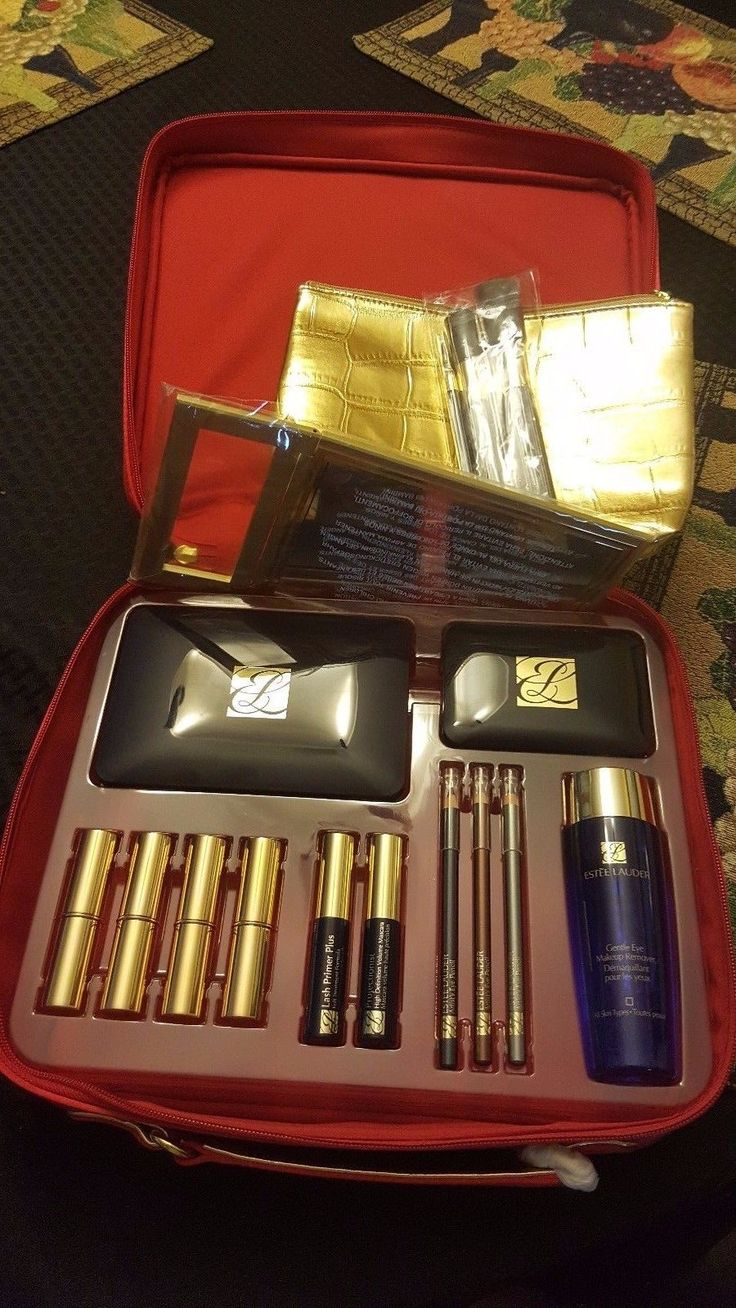 ESTEE LAUDER Makeup Cosmetics Huge Large 21 PC Gift Set Red Train Case Box $350