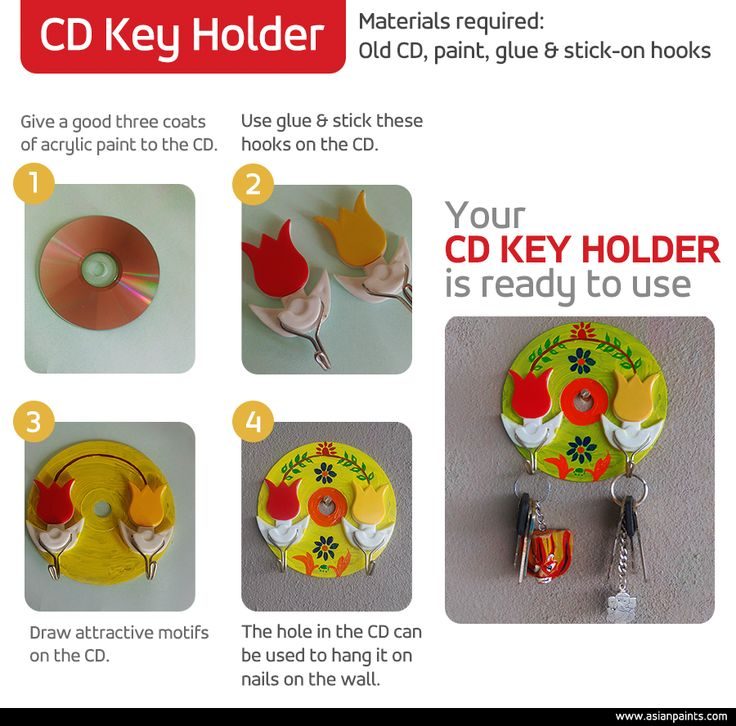 Bid goodbye to the mad search for your loose keys, with style! This handmade key storage also helps you put your old CDs to some good use. Make it to suit your needs and match your room style with the correct choice of colour and hooks. Happy keying! #DIY