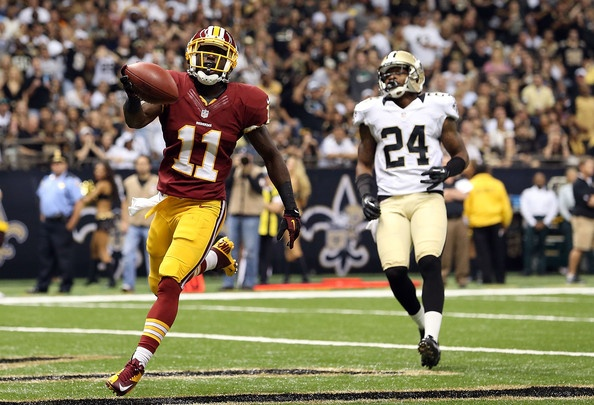 @SMUMustangs Alumni and 2009 Sheraton Hawaii Bowl Participant -  Aldrick Robinson, #11 WR for Washington Redskins, scores against NOLA Saints.