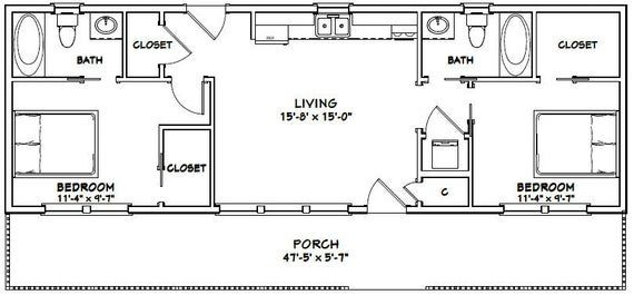 48×16 House — 2-Bedroom 2-Bath — 768 sq ft — PDF Floor Plan — Instant Download — Model 1B