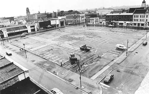 A never-before published photo of Brantford's Market Square taken on May 15, 1985. It was the last look at the property (used for 20 years as a parking lot) before the Campeau company began construction of the Eaton Mall. The photo was taken from the heights of the Beckett Building on Colborne Street. (Expositor file photo)
