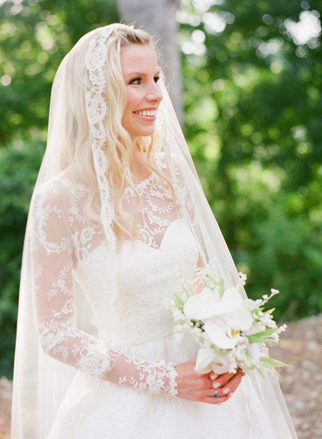 Film Wedding Photographer | www.buffydekmar.com Lily of the Valley bridal bouquet by Glen Albright. Oscar de la Renta gown.