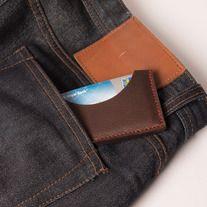 Houston Slim Wallet/Card Holder, Red Stitch | Odessa Goods