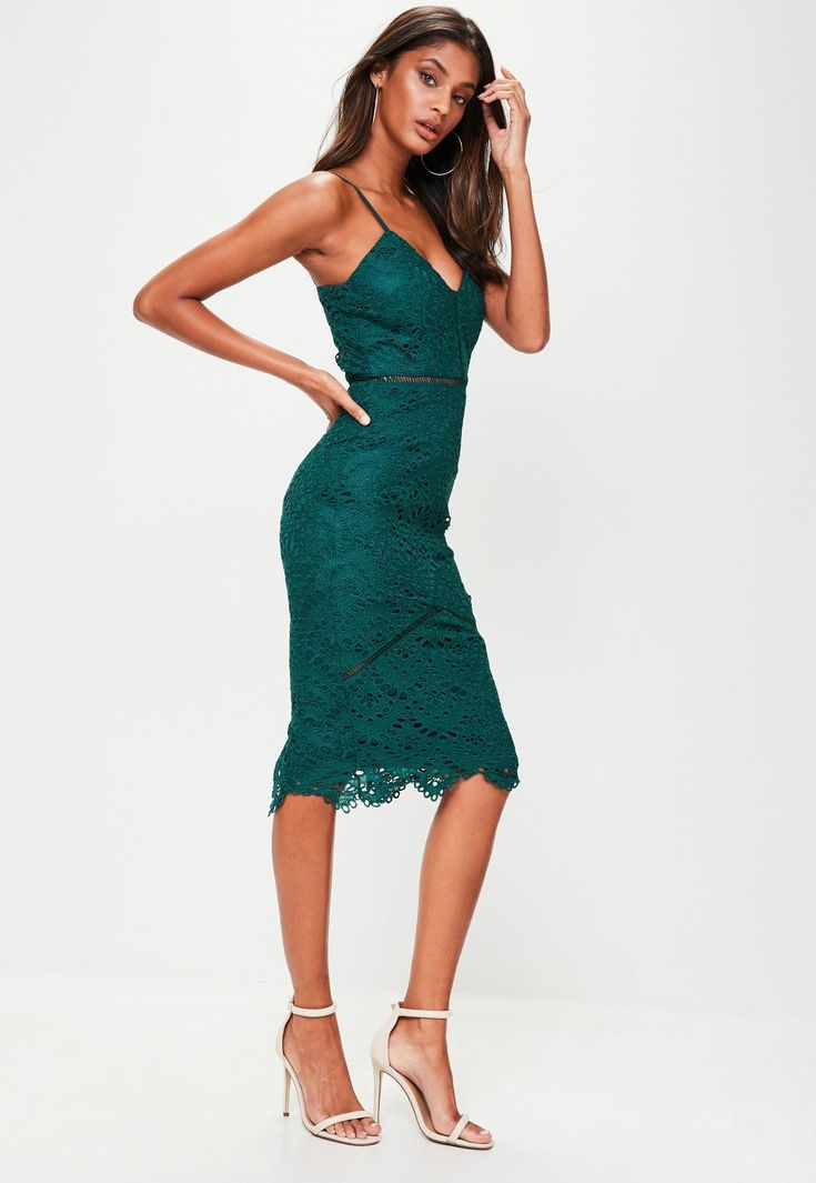 Missguided - Green Lace Ladder Detail Midi Dress