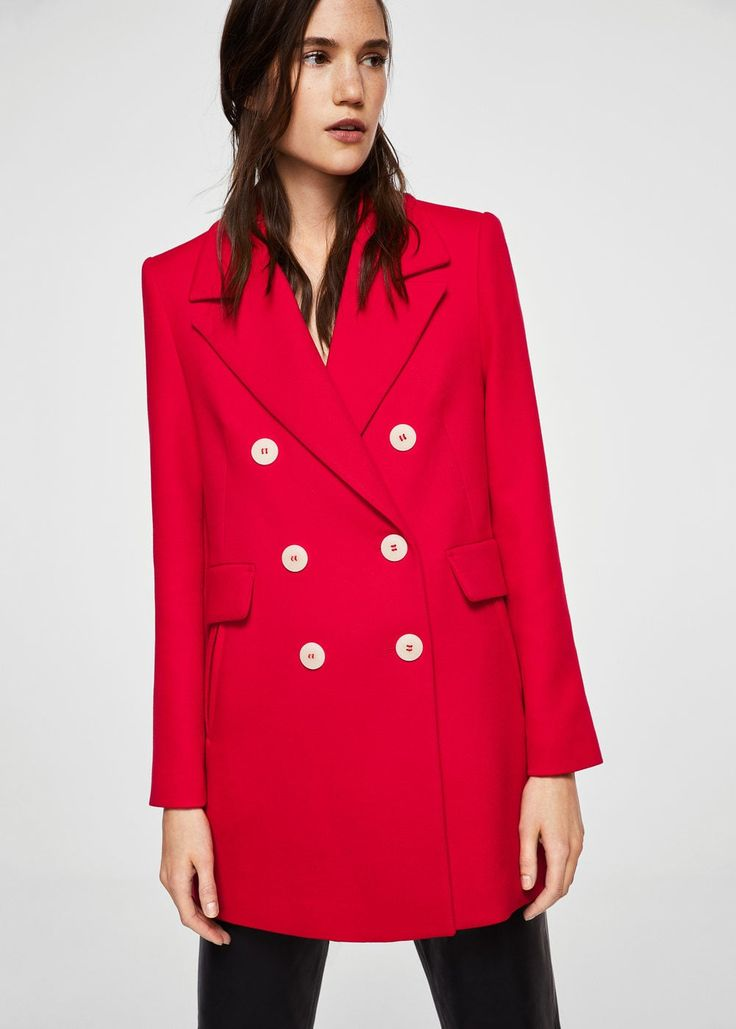 Contrast buttons coat  | MANGO