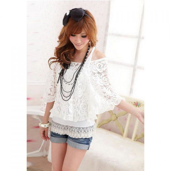 Mix Match Scoop Neck Bat Wing Sleeves Loose Fitting Lace Blouse and Vest Two Piece Set For Women