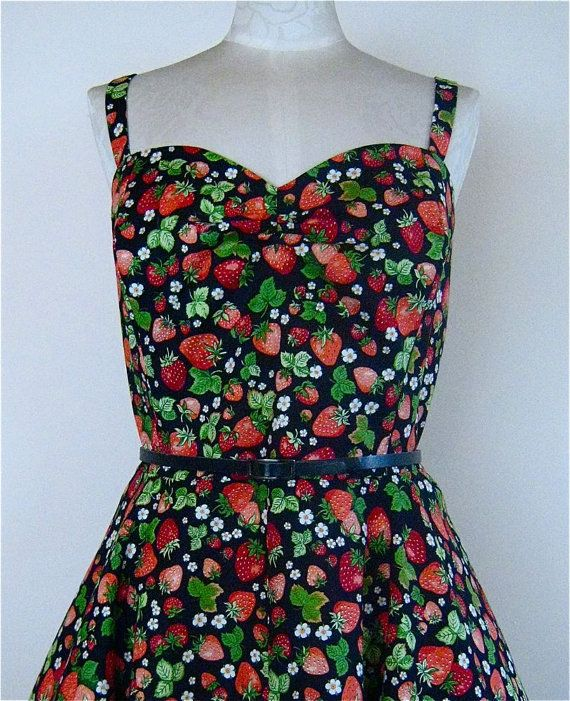 50's Style Circular Skirt Sundress, in Strawberries fabric, from Bird of Paradise Clothing. on Etsy, £68.00